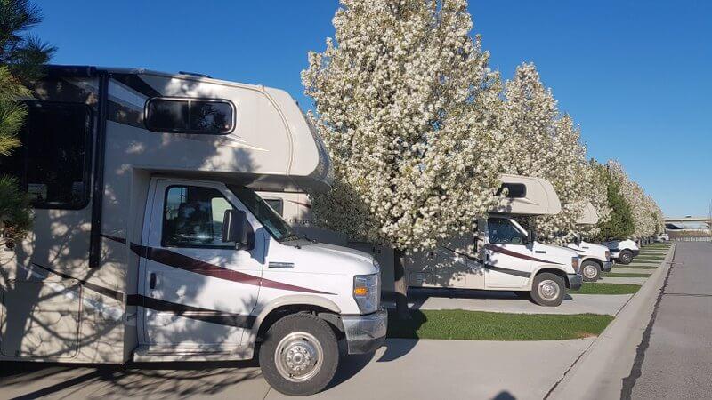 Heerlijk warm voorjaarszonnetje op de camping in Salt Lake City