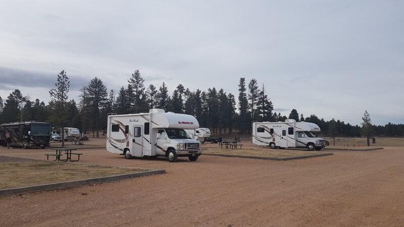 Ruime plaatsen op de camping in Bryce Canyon