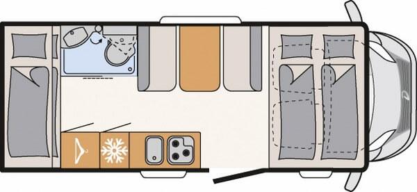 Plattegrond alkoof camper met stapelbed